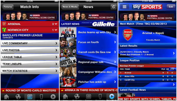 Sky Sports Live Football Score Centre iPhone app