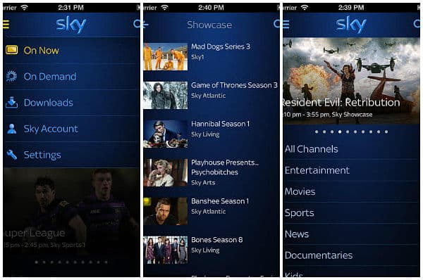 Sky Go app for iPad