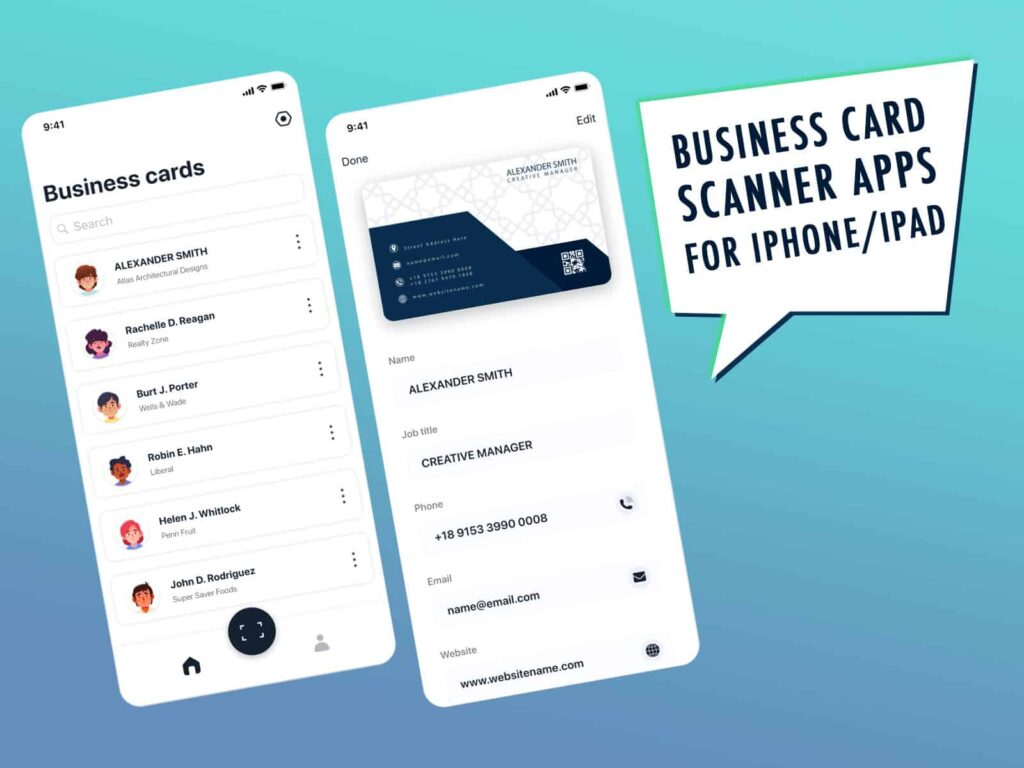 Business card scanner app for iphone ipad