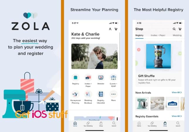 Zola wedding planning and gift registry app