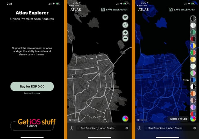 Atlas Wallpaper app to create background form Map