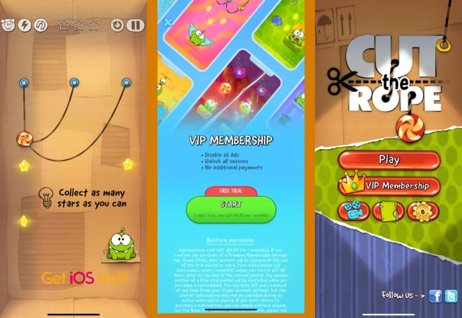 Cut the Rope physics-based puzzle game for iOS