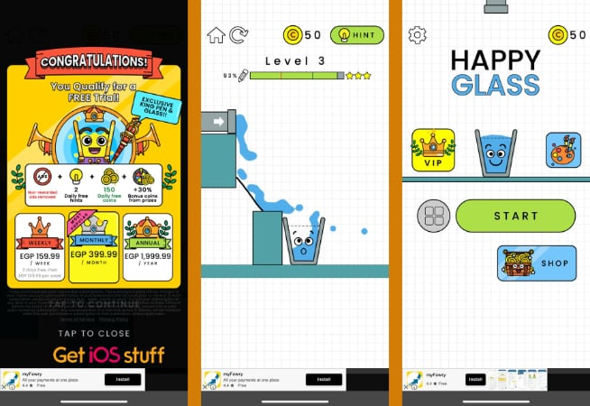 Happy Glass physics-based puzzle game for iPad